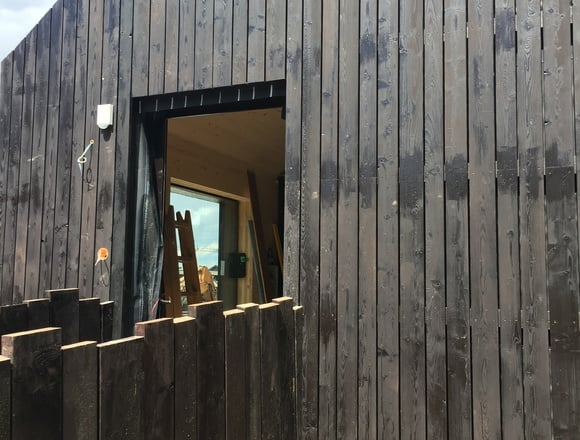The entrance into the new chalet